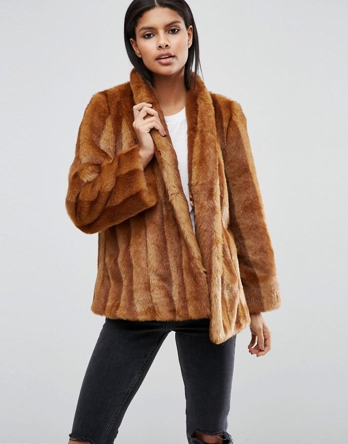 AsosASOS Luxe Faux Fur Swing Coat