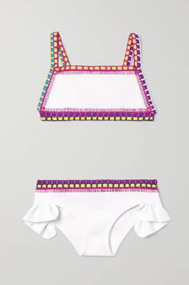 Kiini Kids - Yaz Ruffled Crochet-trimmed Bikini - White