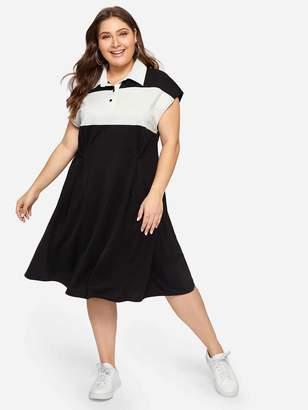 Shein Plus Color-block Polo Tee Dress