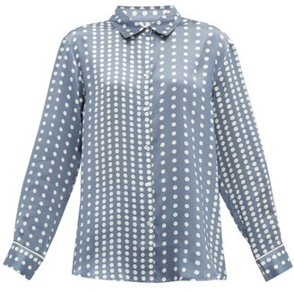 Asceno - Polka Dot Sandwashed Silk Pyjama Top - Womens - Blue Multi