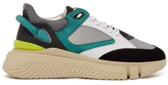 Buscemi Veloce Leather And Suede Trainers - Mens - Black Green