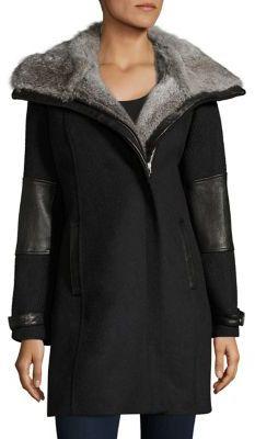 Andrew Marc Mara Rabbit Fur-Collar Coat $695 thestylecure.com