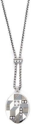 Bottega Veneta Oval Pendant Necklace - Womens - Silver