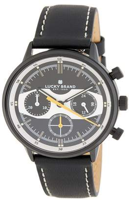 Lucky Brand Men's Fairfax Racing Leather Strap Watch, 40mm