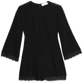Zimmermann Lace-Trimmed Pleated Crepe Playsuit