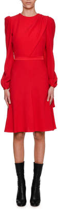 Alexander McQueen Long-Sleeve Crepe Draped-Bodice Dress, Scarlet