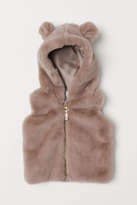 H&M Faux Fur Vest with Hood - Beige