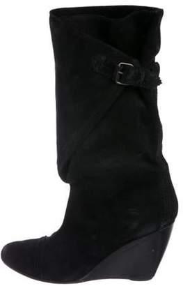 Balenciaga Suede Mid-Calf Boots Black Suede Mid-Calf Boots