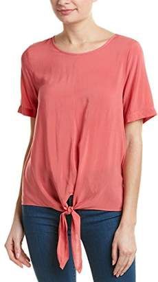 Velvet by Graham & Spencer Women's Challis Knot Front Shortsleeve Blouse