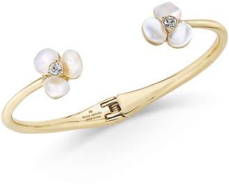 Kate Spade Gold-Tone Pavé & Imitation Pearl Hinged Slim Cuff Bracelet