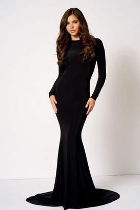 Club L Womens **Black Backless Fishtail Maxi Dress By London