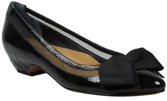J. Renee Block Heel Bow Accent Patent Pumps - Taroona