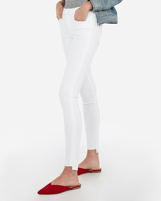 Express Mid Rise White Side Detail Ankle Jean Leggings