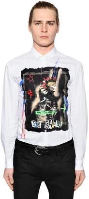 Just Cavalli Printed Cotton Poplin Shirt W/ Studs