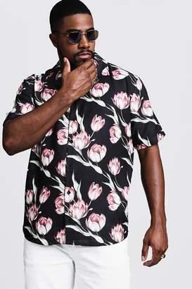 boohoo Big & Tall Large Floral Print Revere Shirt