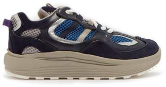 Eytys Jet Turbo Leather And Suede Trainers - Mens - Blue