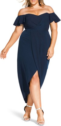 City Chic Maxi Flutter Off the Shoulder High/Low Dress