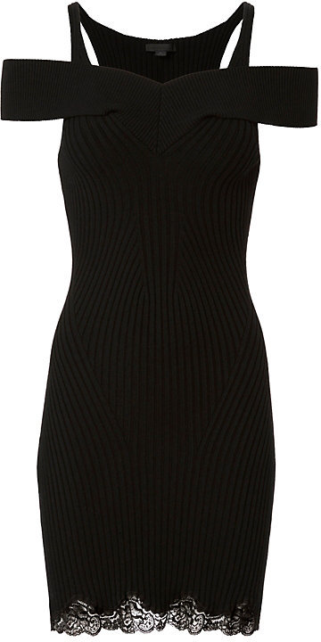 Alexander Wang Alexander Wang Lace Hem Ribbed Knit Black Dress