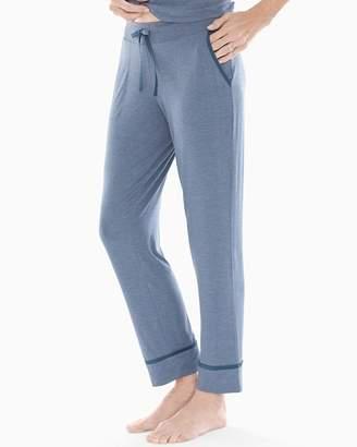 Cool Nights Satin Trim Ankle Pajama Pants Heather Shadow Blue