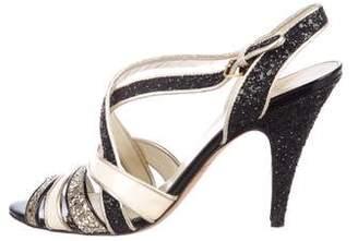 Miu Miu Glitter & Patent Leather Sandals