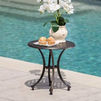 "Noble House Leo Outdoor 19"" Cast Aluminum Side Table, Bronze"