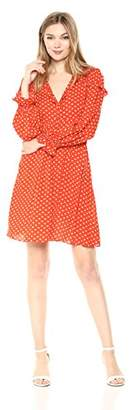Wild Meadow Women's Long Sleeve Empire Waist Ruffle Polka Dottie Baby Doll Dress M