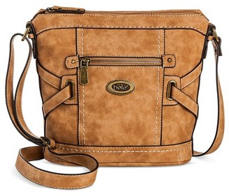 Bolo Women's Faux Leather Crossbody Handbag with Front/Back/Interior Compartments and Zipper Closure - Brown $29.99 thestylecure.com