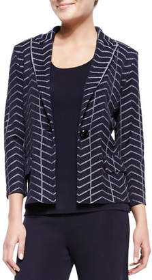 Misook Spider Web One-Button Jacket, Petite