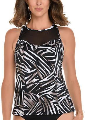 Trimshaper Control Zebra Tankini Swimsuit Top