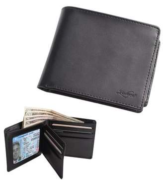 clear Wallets for men by Zodaca Men's Genuine Leather Bifold Wallet Credit Card Holder with Flip Left ID Window - Black (Perfect Gift for Dad Men)