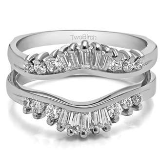 TwoBirch Cubic Zirconia Mounted In Sterling Silver Classic Contour Style Ring Jacket Enhancer (0.65ctw)