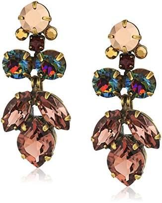 Sorrelli Onyx Petite Crystal Lotus Flower Drop Earrings