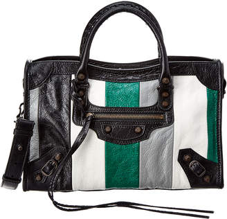 Balenciaga Classic City Striped Small Leather Shoulder Bag