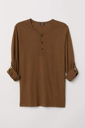 H&M Cotton Jersey Henley Shirt - Brown
