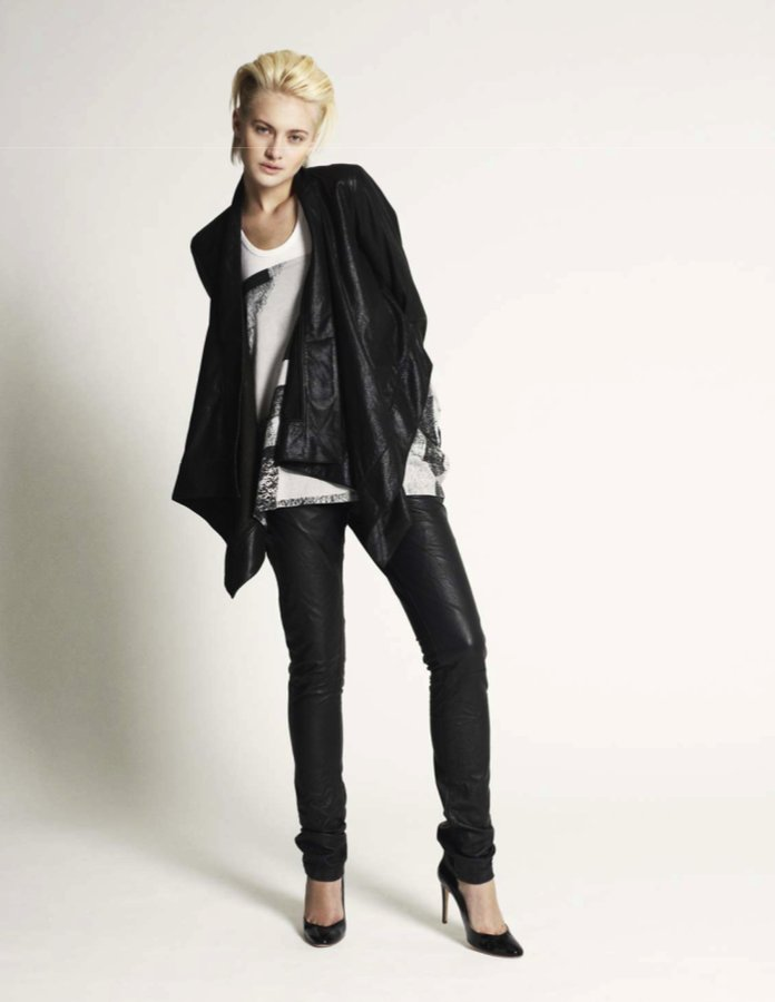 PRPS Leather Cape Jacket in Black
