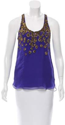Adam Silk Embellished Top