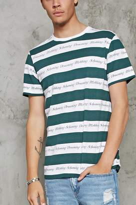 Forever 21 Striped Graphic Tee