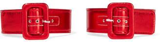 ATTICO Metallic Leather Ankle Straps - Red