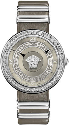 Versace 40mm V-Metal Icon Watch w\/ Leather Strap Steel