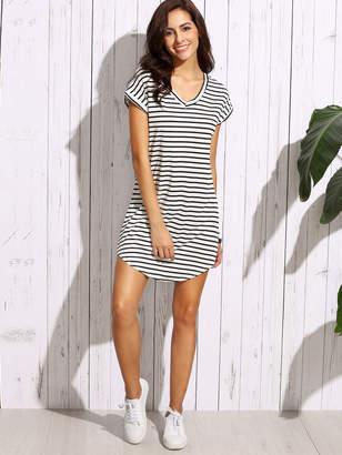 Shein Striped Curved Hem Tshirt Dress