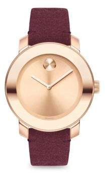 Movado Bold Iconic Metal& Red Suede Watch