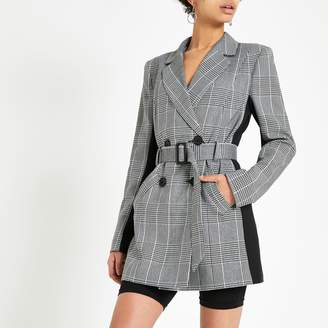 0c84345d4b River Island Womens Grey check double breasted belted blazer