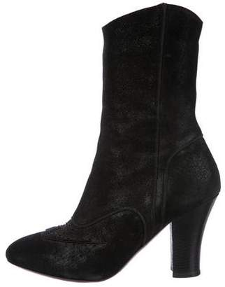 Dries Van Noten Leather Embellished Mid-Calf Boots