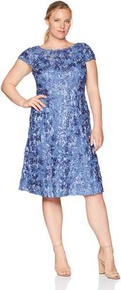 a7a9eb7eaa9 Alex Evenings Women s Plus Size Tea Length Rosette Dress with Sequin Detail