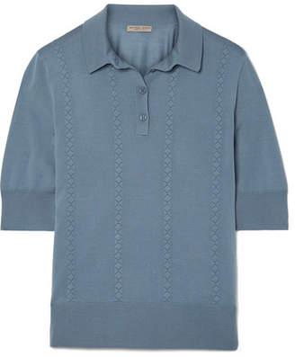 Bottega Veneta Intrecciato-trimmed Wool Polo Shirt - Blue