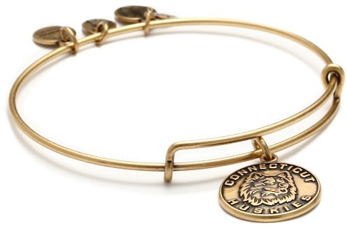 "Alex and Ani Collegiate"" UCONN Mascot Expandable Rafaelian Gold Finish Wire Bangle Bracelet"