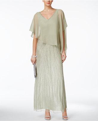 J Kara Beaded V-Back Capelet Gown $289 thestylecure.com