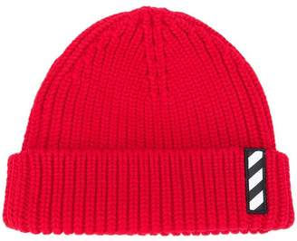 Off-White logo patch beanie hat