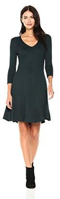 Gabby Skye Women's 3/4 Sleeve V Neck Sweater Fit and Flare Dress