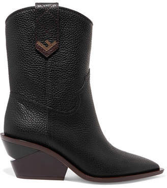 Fendi Textured-leather Boots - Black